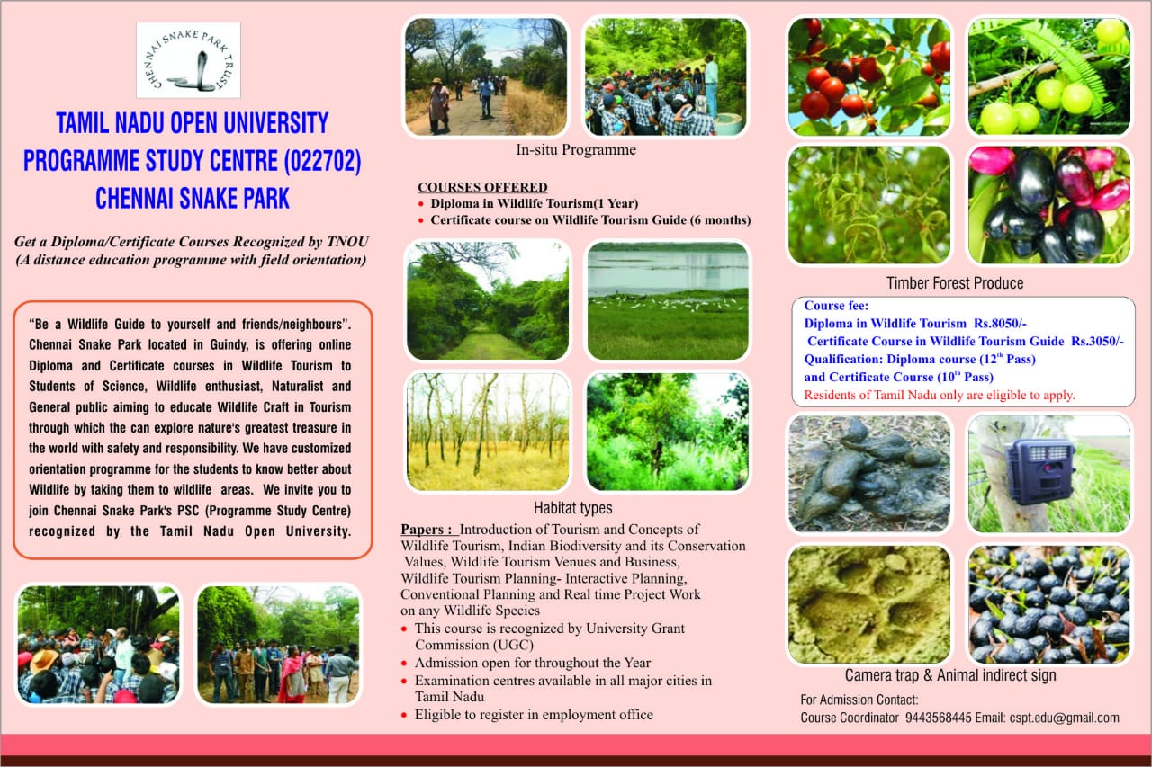 guindy-snake-park-diploma-tourinsm-wildlife-courses-mailer