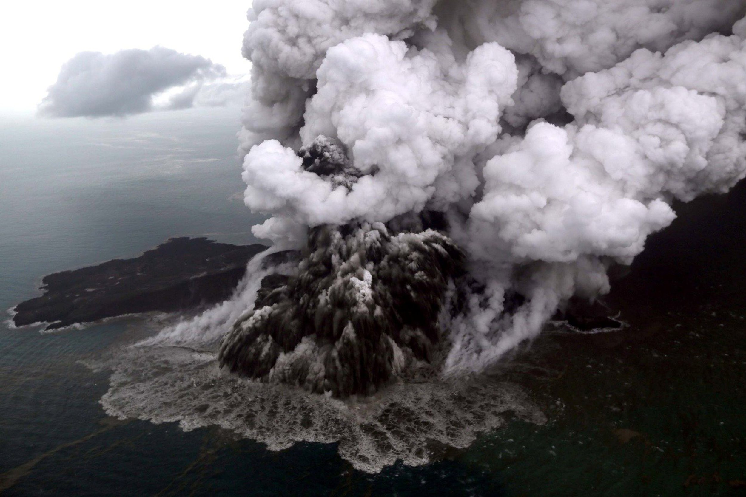 Image: An aerial view of Anak Krakatau volcano during an eruption at Sunda strait in South Lampung