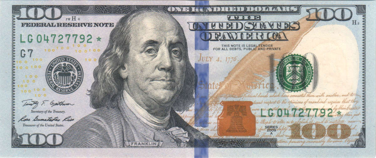 100 dollar currency note