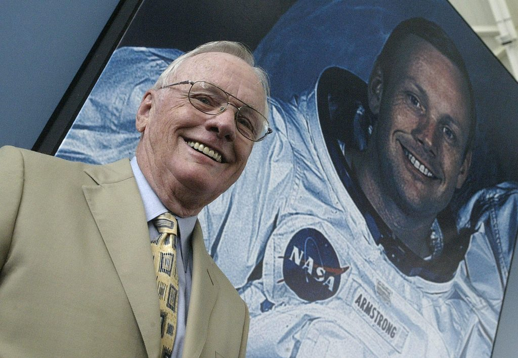 US austronaut Neil Armstrong  poses in f